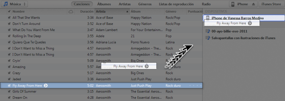 Arrastrar la canción del iTunes hasta el dispositivo.