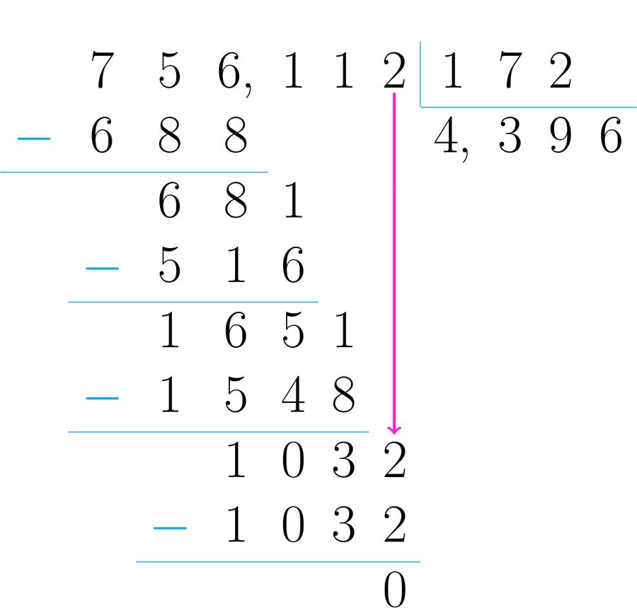 Cuando no hay mas cifras por bajar y el resultado de la última resta es cero, se ha terminado el proceso.