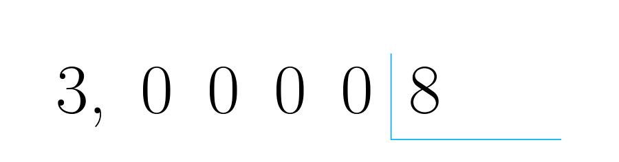 Se ubican los números para empezar la división.