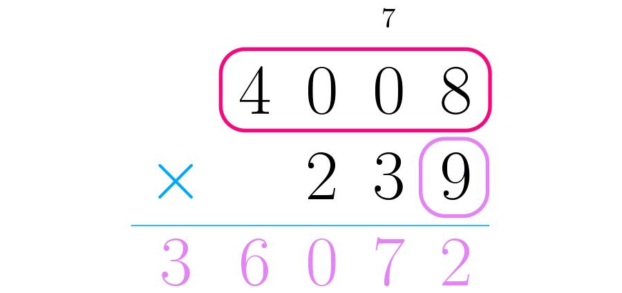 Multiplicamos as unidades do segundo número pelo primeiro.
