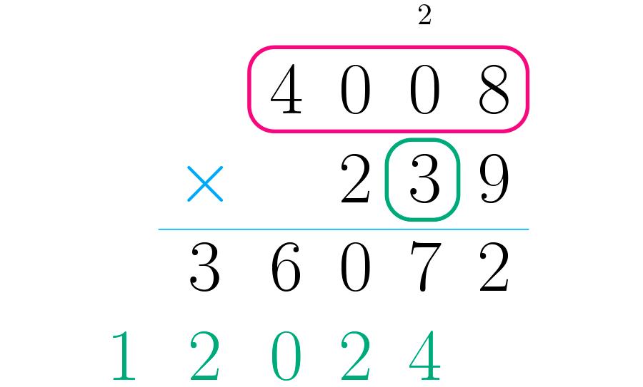 Multiplicamos as dezenas do segundo número pelo primeiro.