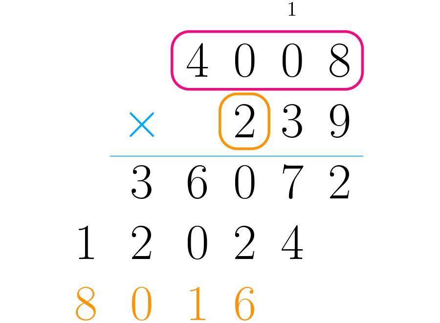 Multiplicamos o primeiro número pelas centenas do segundo.