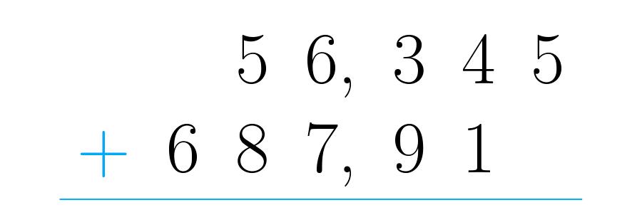 Posicionamos os números de forma correta.