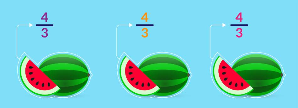 Quatro terços de melancia.