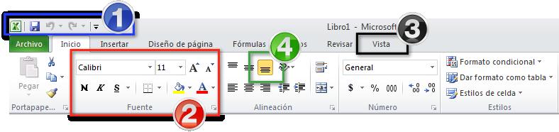 Imagen de la parte superior de la ventana de Excel 2010.