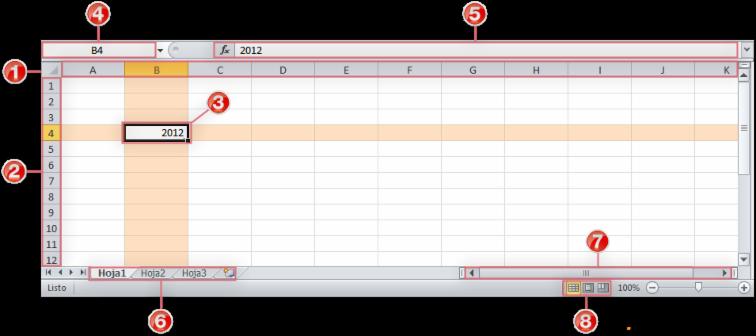 Espacio de trabajo de Excel 2010