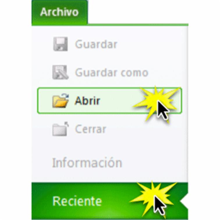 Abrir un archivo en Excel 2010