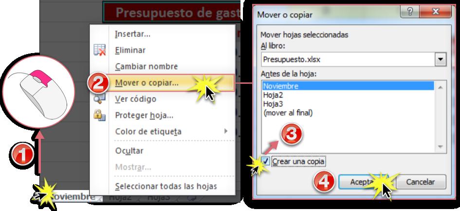 Imagen ejemplo de lo pasos para copiar una hoja de cálculo en Excel 2010.