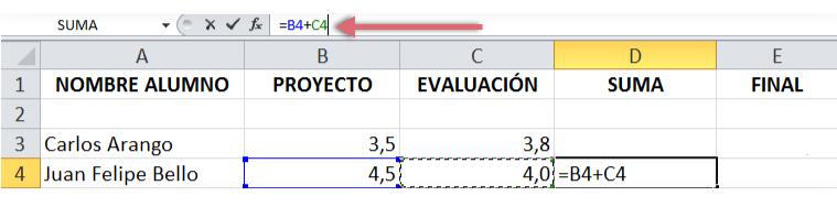 Imagen de procedimiento para crear fórmulas con referencia de celdas.