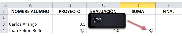 Imagen del paso final del procedimiento para creación de fórmulas con referencia de celda en Excel 2010.