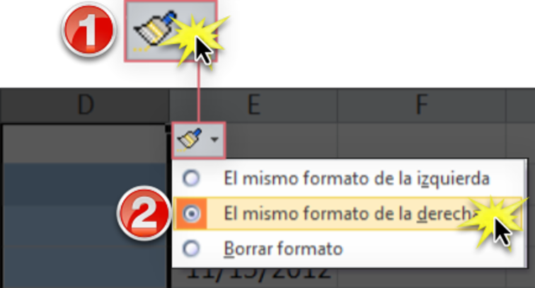 Imagen ejemplo del botón Opciones de inserción en Excel 2010.