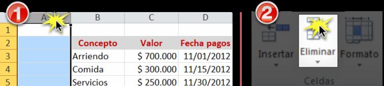 Imagen ejemplo de lo pasos para eliminar filas o columnas en Excel 2010.