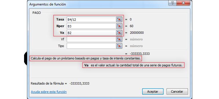 Imagen ejemplo de cuadro de diálogo Argumentos de función en Excel 2010.