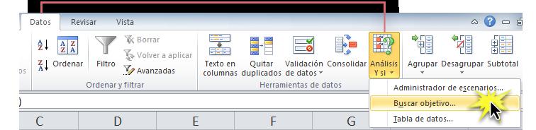 Imagen ejemplo del menú desplegable del comando Análisis y sí en Excel 2010.