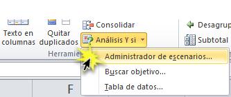 Imagen ejemplo de la Opción Administrador de escenarios en el menú desplegable de Análisis y si de Excel 2010.