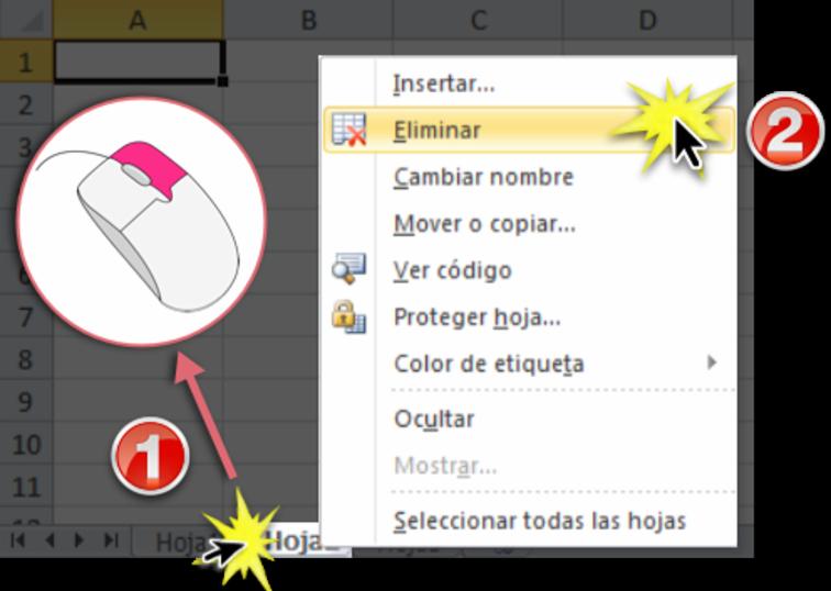 Imagen ejemplo de cómo eliminar una hoja de cálculo en Excel 2010.