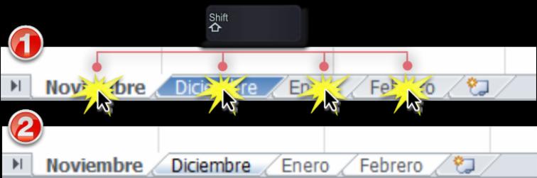Imagen ejemplo de los dos primeros pasos para agrupar hojas de cálculo en Excel 2010.