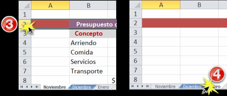 Imagen de cómo un cambio se replica en todas las hojas de cálculo agrupadas.