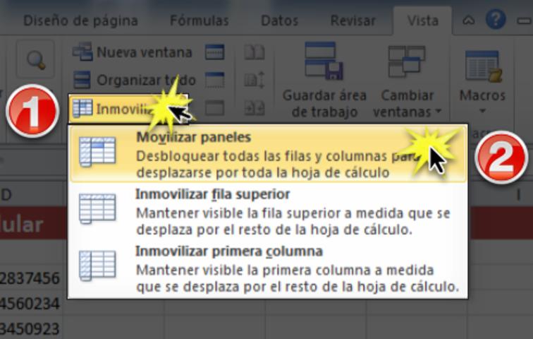 Imagen ejemplo de los pasos para movilizar paneles congelados en Excel 2010.