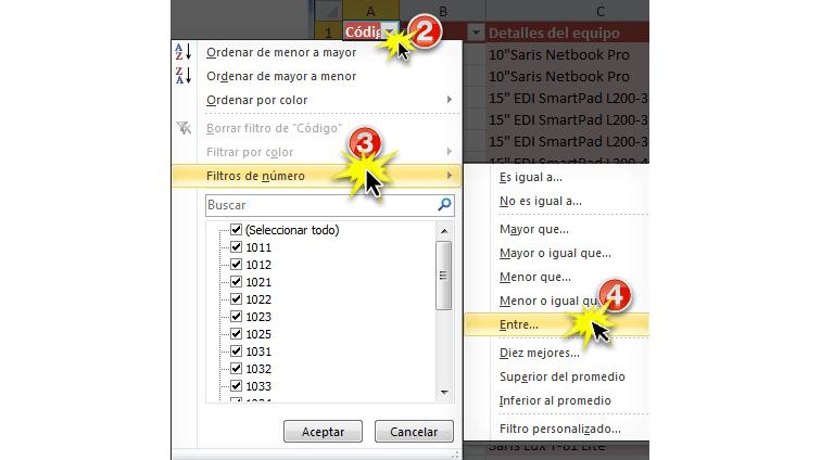 Imagen ejemplo de los pasos 2, 3 y 4 para utilizar los filtros avanzados por número en Excel 2010.