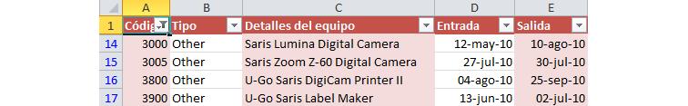 Imagen ejemplo del resultado del filtro numérico en Excel 2010.