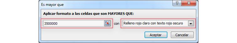 Imagen ejemplo del cuadro de diálogo para aplicar un formato condicional a una tabla en Excel 2010.