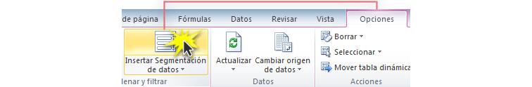 Imagen ejemplo del comando Insertar segmentación de datos de la pestaña Opciones de Excel 2010.