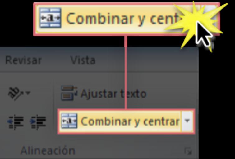 Imagen del comando Combinar celdas en la Cinta de opciones.