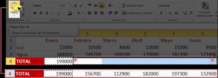 Imagen ejemplo de cómo trabaja Excel 2010 al copiar una fórmula.