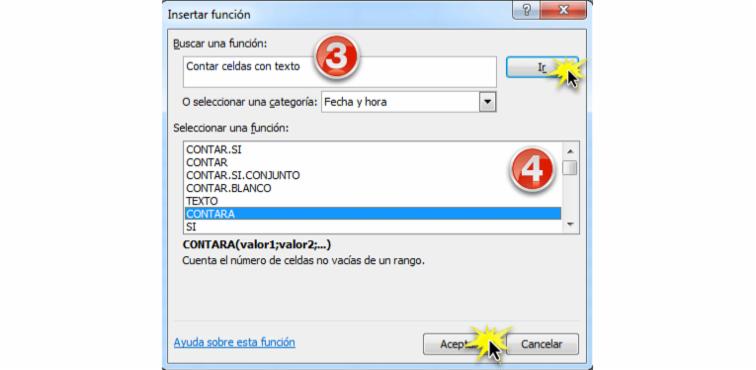Imagen ejemplo del cuadro de diálogo Insertar función en Excel 2010.