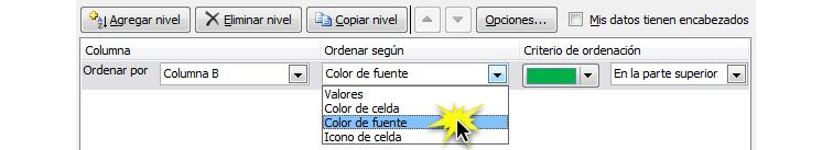 PaImagen del paso 4 de cómo ordenar datos por color de fuente en Excel 2010.