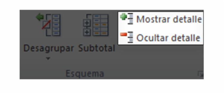 Imagen ejemplo del comando Mostrar detalle y Ocultar detalle desde la pestaña Datos en Excel 2010.