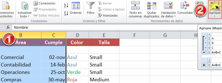 Imagen ejemplo de los pasos 1 y 2 para crear grupos en Excel 2010.