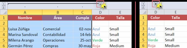 Imagen ejemplo del signo - o + para ver los datos agrupados en una hoja de cálculo de Excel 2010.