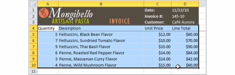 Imagen de referencia de los datos con que se configurará la tabla.