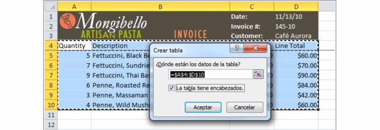 Imagen ejemplo del cuadro de diálogo Crear tabla en Excel 2010.