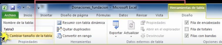 Imagen ejemplo del comando Cambiar tamaño de la tabla en la pestaña Diseño de Excel 2010.