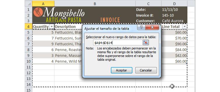 Imagen ejemplo del cuadro de diálogo Ajustar el tamaño de la tabla en Excel 2010.