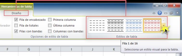 Imagen ejemplo de la flecha desplegable Más en la pestaña Diseño de Excel 2010.