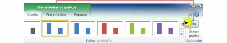 Imagen ejemplo del comando Mover gráfico en la pestaña Diseño de Excel 2010.