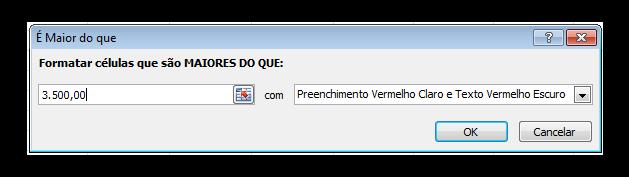 Caixa de diálogo da formatação condicional