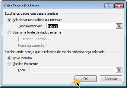 Caixa de diálogo Criar tabela dinâmica