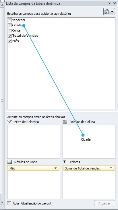 Exemplo de imagem de como adicionar rótulos de coluna em uma tabela dinâmica do Excel 2010
