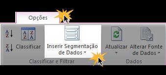Exemplo de imagem do comando Inserir Segmentação de Dados na guia Opções do Excel 2010.