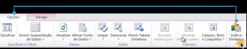 Exemplo de imagem do comando Gráfico Dinâmico na guia Opções do Excel 2010.