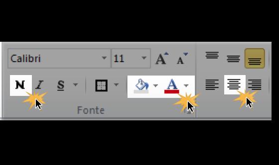 Imagem de ferramentas de formatação de texto. Botões Negrito, Plano de fundo, Cor da fonte e Texto central.
