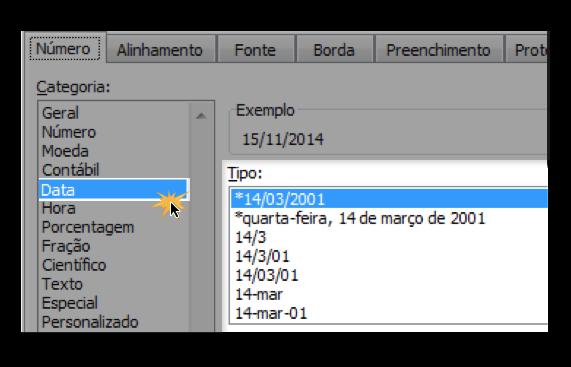 Exemplo de imagem das etapas para alterar o formato da data