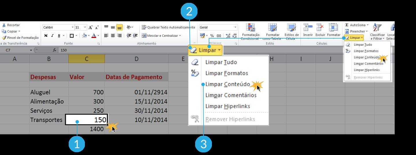 Imagem das etapas para limpar o conteúdo de uma célula no Excel 2010