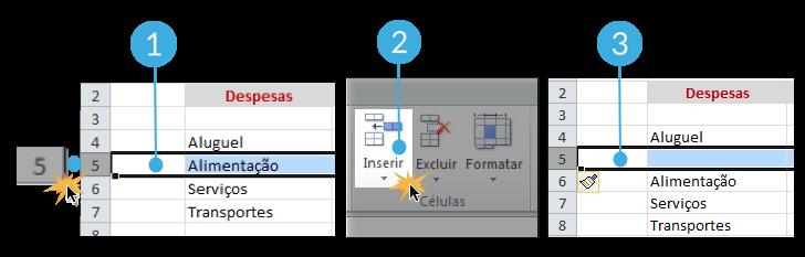 Como inserir linha no Excel 2010