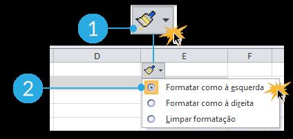 Imagem de exemplo do botão Inserir opções no Excel 2010.